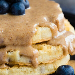 Cinnamon Honey Almond Butter with Blueberry Waffles