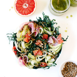 CITRUS AVOCADO KALE SALAD WITH TOASTED SEEDS & FENNEL PESTO DRESSING THREE