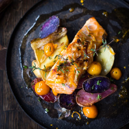 Citrus Baked Salmon with Kumquats and Fingerlings