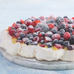 Classic Pavlova with Honey Zabaglione and Fresh Berries