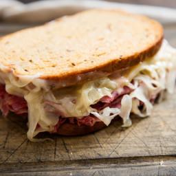 Classic Reuben Sandwich (Corned Beef on Rye With Sauerkraut and Swiss) Reci