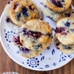 Coconut Blueberry and Cranberry Muffins Recipe