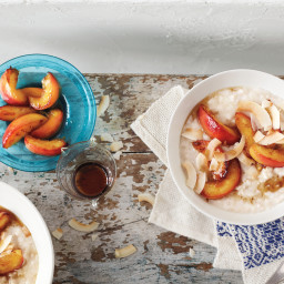 Coconut Breakfast Pudding with Sauteed Nectarines