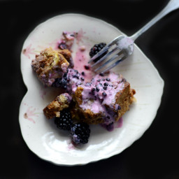 Coconut Cinnamon Raisin French Toast Bake with Blackberry Greek Yogurt Sauc