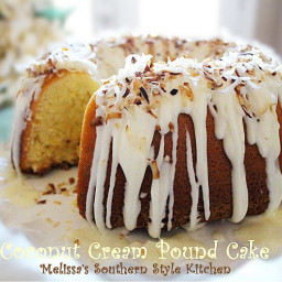 Coconut Cream Pound Cake With A Vanilla Cream Glaze