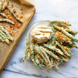 Coconut Crusted Green Beans with Garlic Cashew Dip