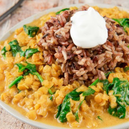 Coconut Curry Lentils with wild rice