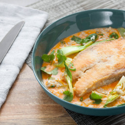 Coconut Curry Salmon Steakswith Celery and Bok Choy over Barley