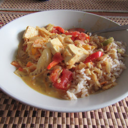 Coconut-Curry Tofu Stew with Spinach and Cabbage