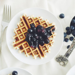 Coconut Flour Waffles with Blueberry Compote