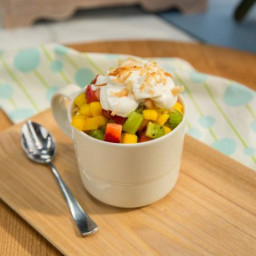 Coconut Mug Cake with Coconut Whipped Cream and Tropical Fruit