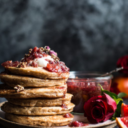 Coconut Quinoa Pancakes with Citrus Whipped Ricotta and Rosy Blood Orange J