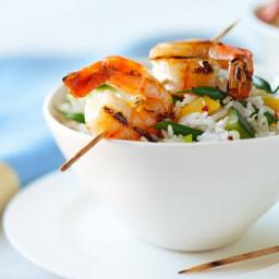 Coconut rice salad with shrimp