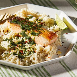 Coconut Rice With Salmon and Cilantro Sauce