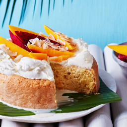 Coconut tres leches cake with tropical salsa