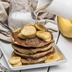 Coconut Vegan Pancakes with Maple-Glazed Bananas