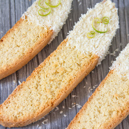Coconut White Chocolate Dipped Lime Biscotti