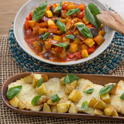 Cod and Summer Squash Ratatouille with Roasted Potatoes