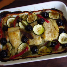 Cod loins in the oven with olives