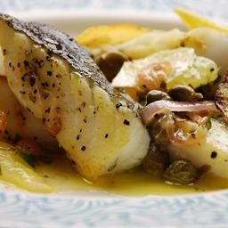Cod with lemon and capers