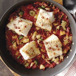 Cod with Pancetta, Artichokes, and Olives