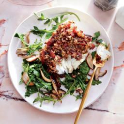 Cod with Shiitake-Bacon Crust and Arugula Salad