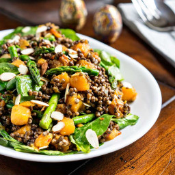 Cold Lentil Salad with Butternut Squash and Asparagus