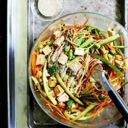 Cold Sesame Brown Rice Noodle Salad