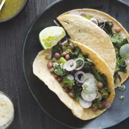 Collard Green Tacos with Tomatillo