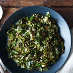 Collard Greens Braised in Coconut Milk