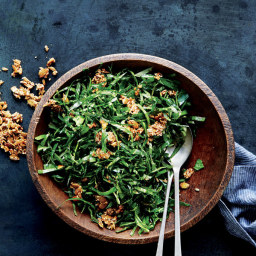 Collard Greens Salad with Ginger and Spicy Seed Brittle