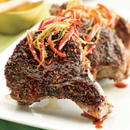 Coriander-Rubbed Pork Chops with Orange Hoisin Sauce