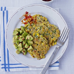 Corn and green bean cakes with avocado and chilli jam