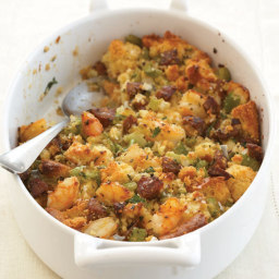 Corn Bread Stuffing with Shrimp and Andouille