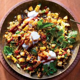 Corn Chaat with Tomato-Tamarind Chutney