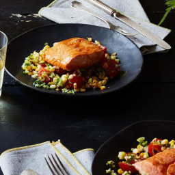 Corn Husk-Smoked Salmon with Grilled Corn Salsa