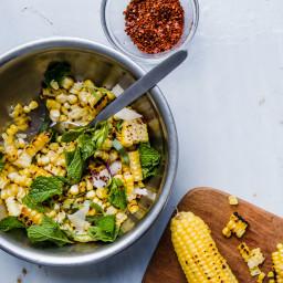 Corn Salad with Hazelnuts, Pecorino, and Mint