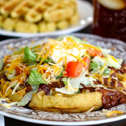 Cornbread Waffles with Chili & Fixins'