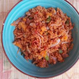 Corned beef gari foto with carrots and green beans (Gari jollof)