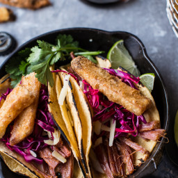 Corned Beef Tacos with Beer Battered Fries