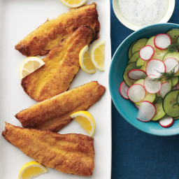 Cornmeal-Crusted Trout with Cucumber-Radish Salad