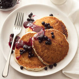 Cottage Cheese Pancakes with Blueberry Compote