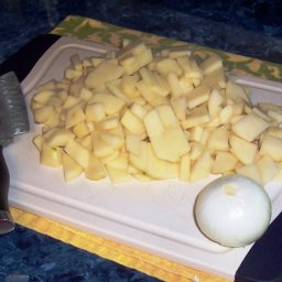 Peel Wash And Dice The Potatoes And Onion If Desired