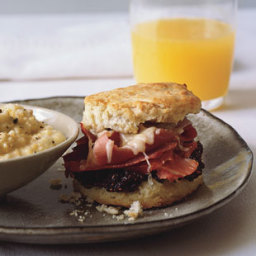 Country Ham-and-Cheese Biscuit Sandwiches with Fig Jam and Heirloom Grits