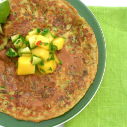 Courgette Chickpea Pancakes with Mango Cucumber Chutney