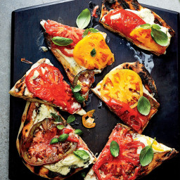 Crackly and Chewy Grilled Flatbreads with Herbed Cheese Spread and Tomatoes
