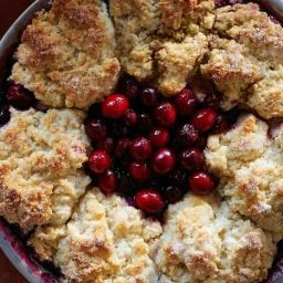 Cranberry-Cherry Cobbler Pie