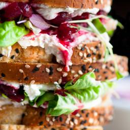 Cranberry Cream Cheese Turkey Salad Sandwiches