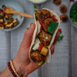 Cranberry Lentil Balls with Mayo and Pita