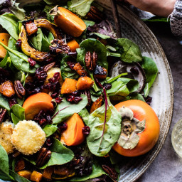 Cranberry Roasted Butternut Persimmon Salad with Fried Goat Cheese